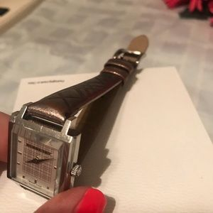 Burberry Accessories - Burberry metallic leather banded watch